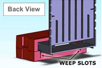 Figure 1: Weep slots and view of BrickVent Moisture Control System back